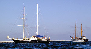 Sailing yachts near Baltra